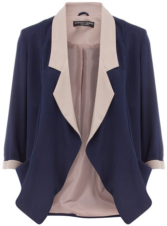 Navy/stone soft tux jacket      Was £39.00     Now £35.10 click to visit Dorothy Perkins