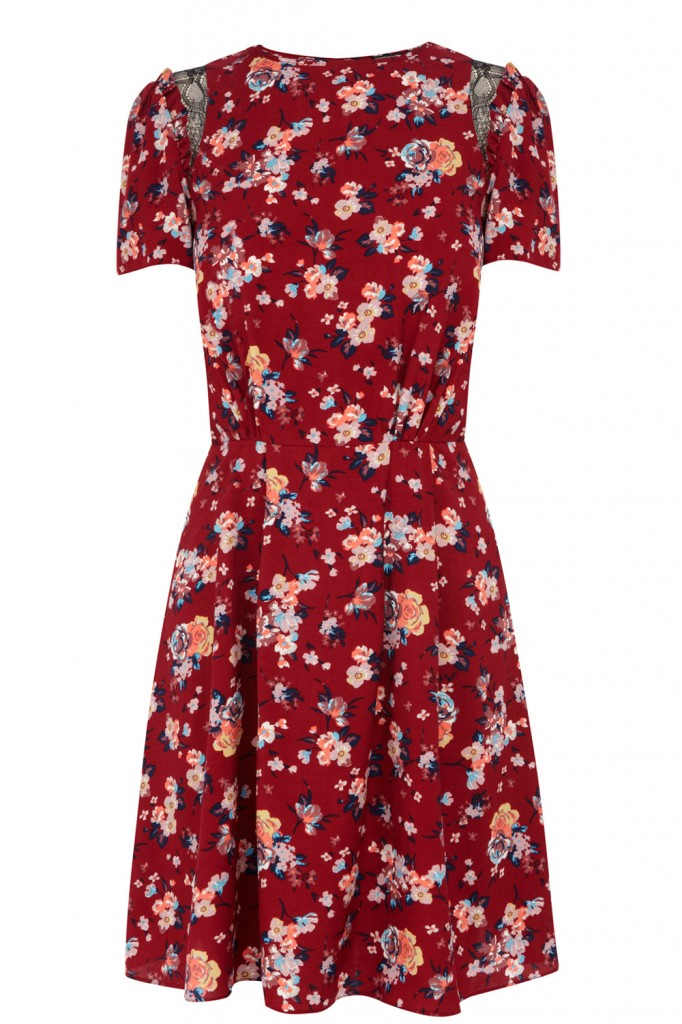 RED FLORAL PRINT SKATER DRESS Price: £48.00 click to visit Warehouse
