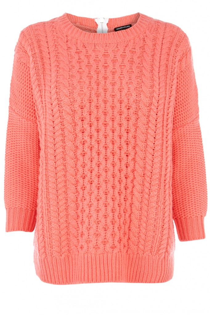 SLOUCHY CABLE ZIP BACK JUMPER Price: £42.00 click to visit Warehouse