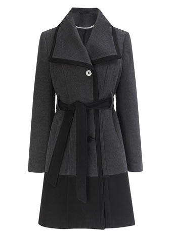 Grey/Black Belted Colour Block Coat   £65.00 click to visit BHS