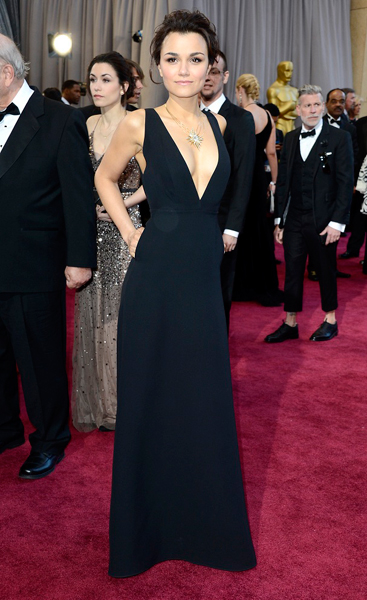 At the Oscars in Valentino
