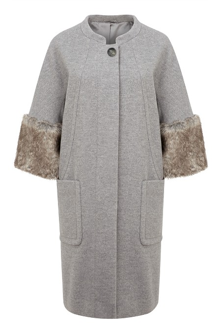 Fur Cuffed Cocoon Coat Item No 060/031040/222 / Was £299.00 Now £249.00 click to visit Kaliko