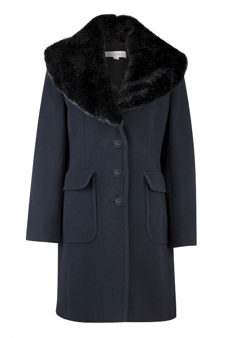 Black Faux Fur Collar Coat Item No 060/031091/11 / Was £249.00 Now £199.00  click to visit Kaliko