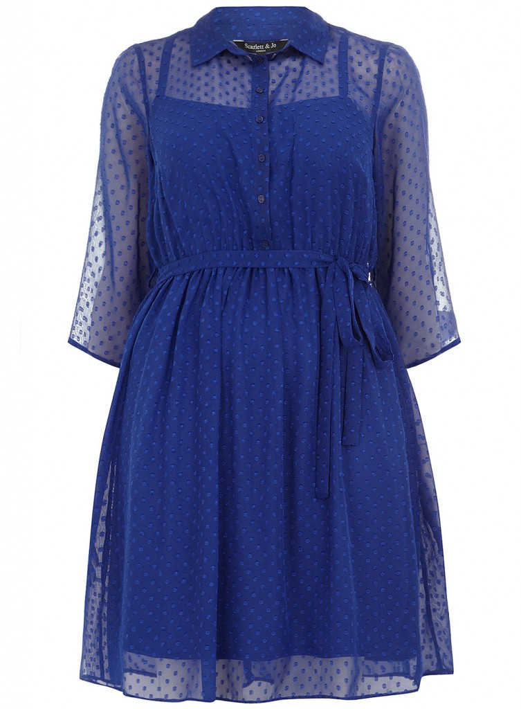 Scarlett & Jo Blue Spot Dobby Shirt Dress     Was £45.00     Now £20.00 click to visit Evans