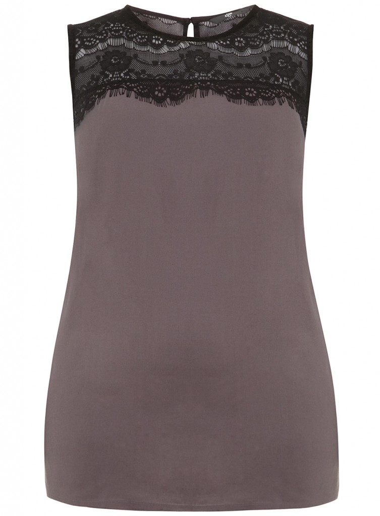 Evans Grey Lace Detail Top     Was £27.00     Now £15.00 click to visit Evans