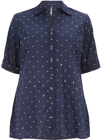 Evans Navy Polka Dot Dobby Shirt     Was £29.50     Now £15.00 click to visit Evans