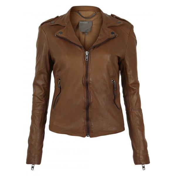 Muubaa Sabi Leather Biker Jacket in Sepia £335 click to visit Muubaa