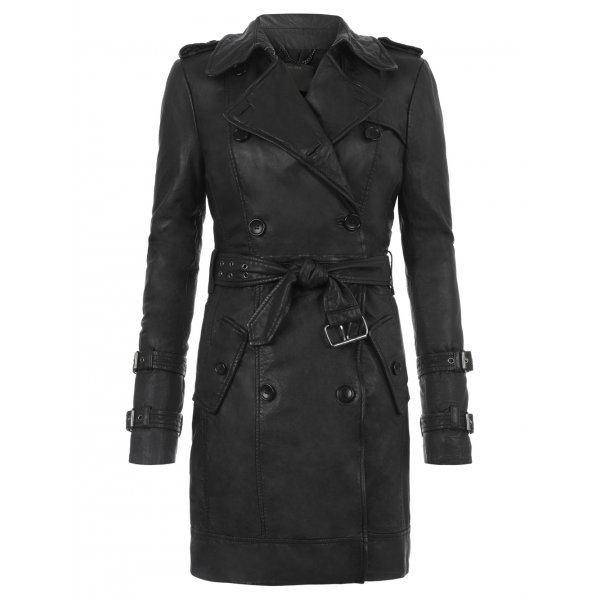 Muubaa Sidon Leather Convertible Trench Coat in Black £650 click to visit Muubaa