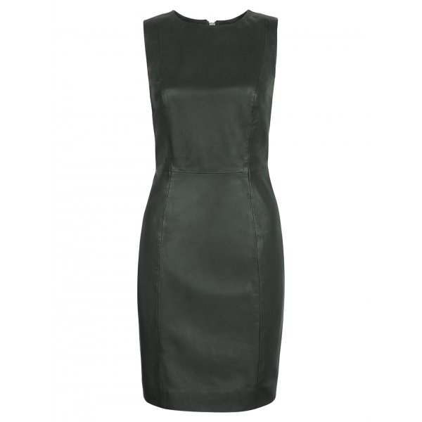 Muubaa Troy Leather Pencil Dress in Bottle Green £400 click to visit Muubaa