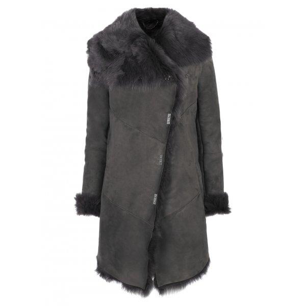 Muubaa Tomis Shearling Coat in Storm Grey £1,690 click to visit Muubaa