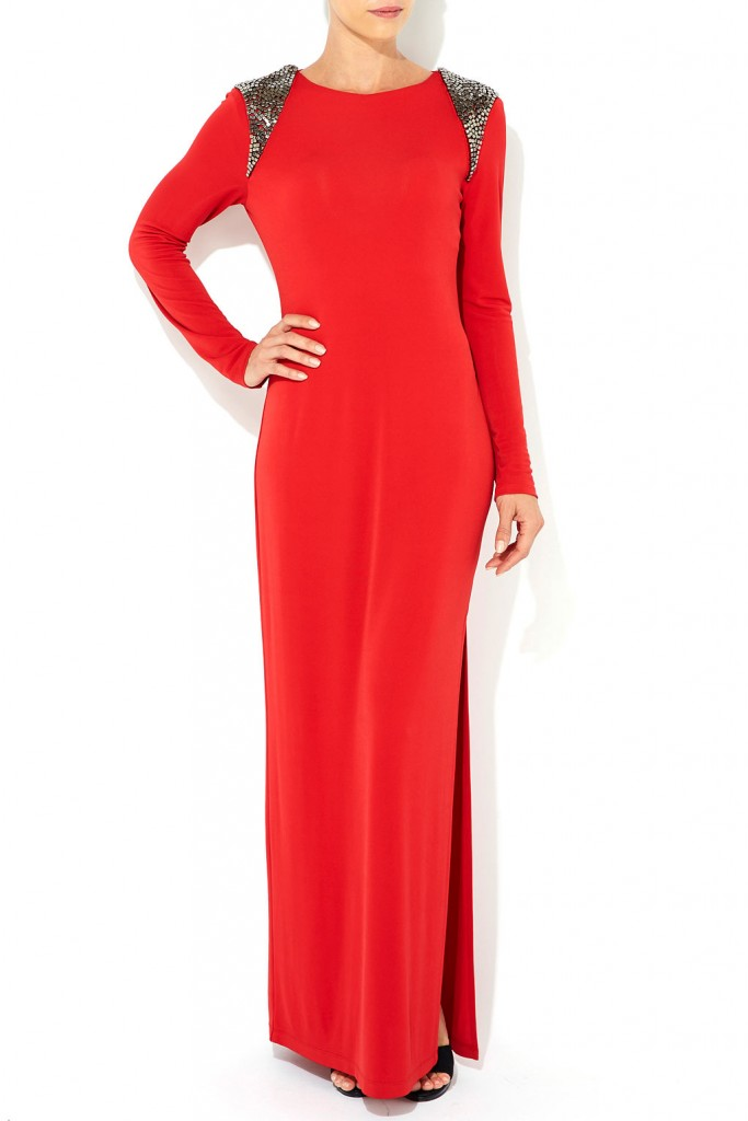 Red Beaded Shoulder Maxi Dress     Price: £90.00 click to visit Wallis