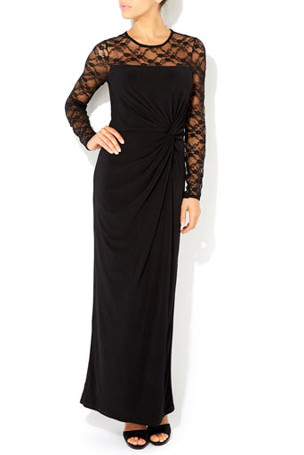 Black Lace Sleeve Maxi Dress     Price: £65.00 click to visit Wallis