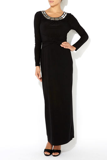 Black Embellished Twist Maxi Dress     Price: £65.00 click to visit Wallis