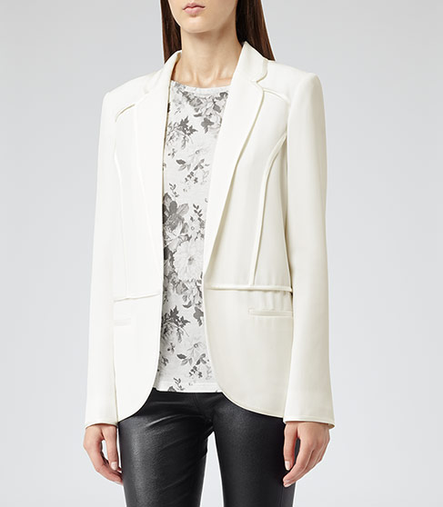 Georgie CONTRAST TRIM JACKET CREAM £189 NOW £115 click to visit Reiss