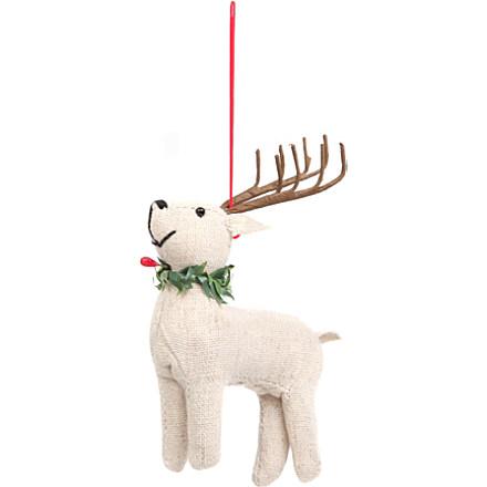 GISELA GRAHAM Calico Reindeer tree decoration 11cm £11.95 click to visit Selfridges
