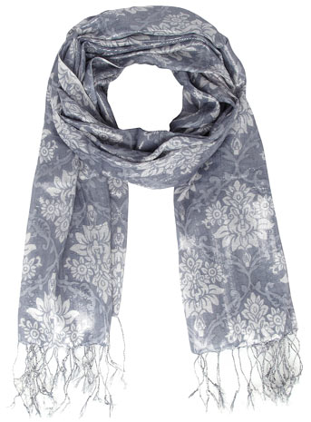 Evans Silver Frost Jacquard Scarf     Price: £15.00 click to visit Evans