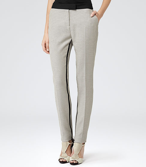 TEXTURED SLIM TROUSERS BLACK/WHITE £120 click to visit Reiss