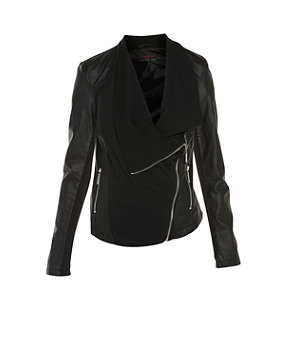 black jersey front waterfall leather-look jacket £39.99 click to visit New Look