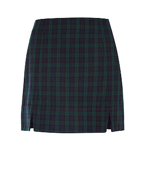 Navy and green check side split mini skirt £17.99 click to visit New Look