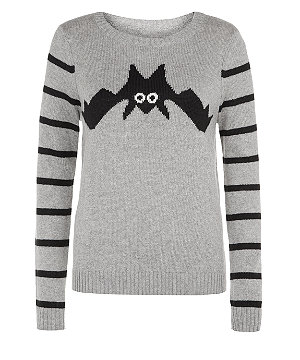 Grey bat stripe sleeve jumper £22.99 click to visit New Look