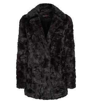 Black faux fur longline coat £49.99 click to visit New Look