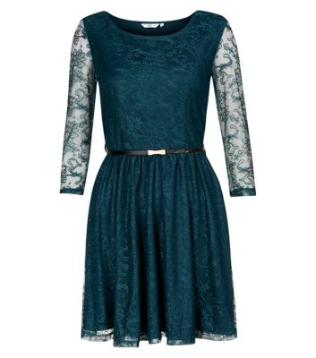 Teal Lace Long Sleeve Skater Dress £19.99 click to visit New Look