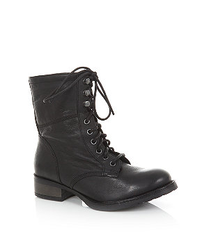 wide fit black leather lace up work boots £64.99 click to visit New Look