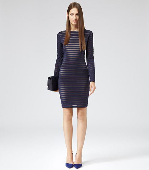 MESH STRIPE BODYCON DRESS NAVY £129 NOW £85 click to visit Reiss