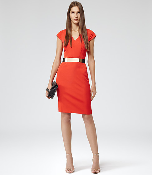 SCULPTURED TAILORED DRESS RED £179 NOW £119 click to visit Reiss