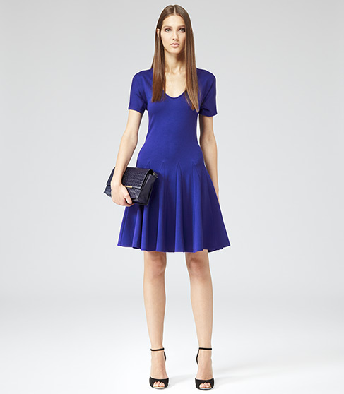 JERSEY FIT AND FLARE DRESS COBALT £120 NOW £79 click to visit Reiss