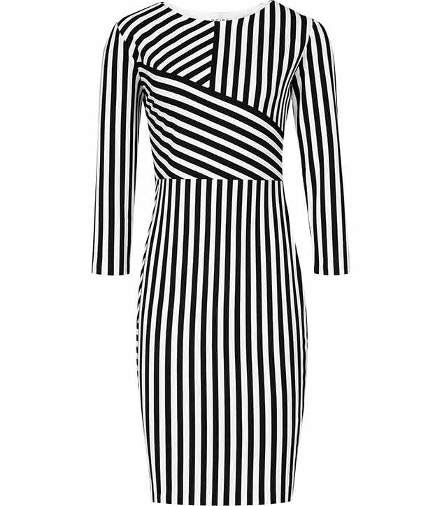 Carter STRIPE JERSEY DRESS BLACK/WHITE £129 click to visit Reiss