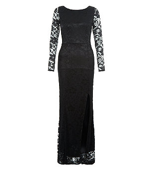 Black Lace Long Sleeve Split Side Maxi Dress £39.99 Click to visit New Look