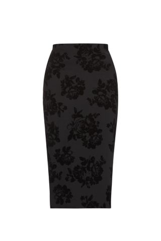 Black rose flocked scuba midi skirt £17.99 click to visit New Look