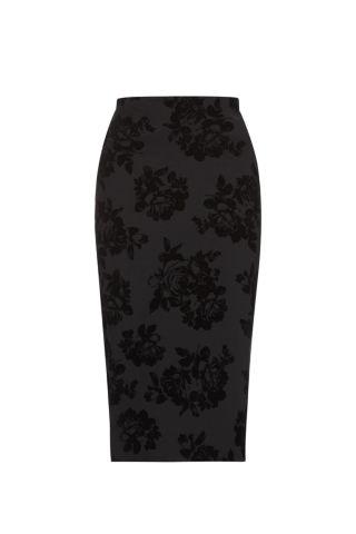 Black rose flocked scuba midi skirt £17.99 click to visit New Look