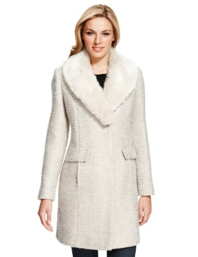 M&S Collection Faux Fur Collar Tweed Coat with Wool £89.00 click to visit M&S