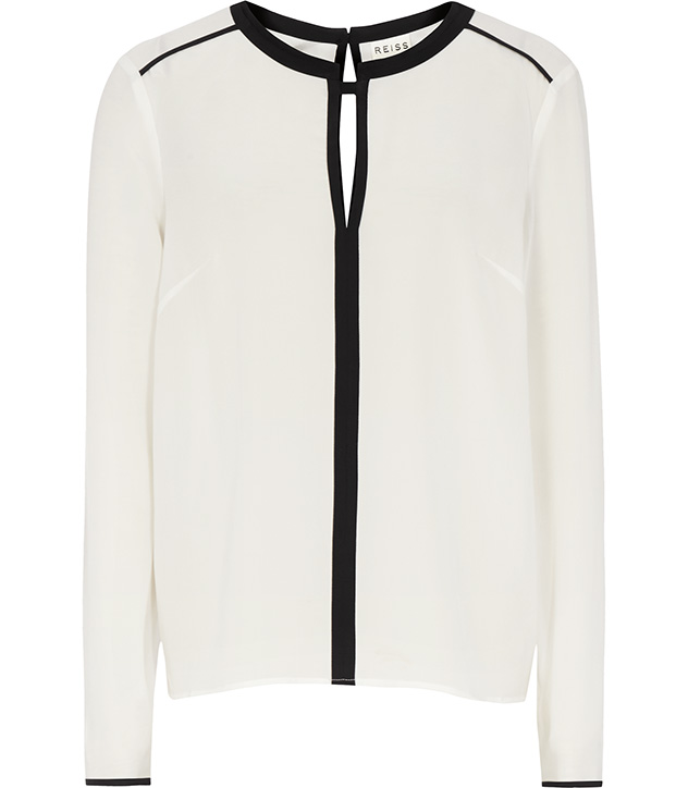 CONTRAST TRIM SILK TOP WHITE £110 click to visit Reiss