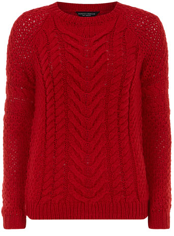 Red chunky cable jumper     Price: £28.00 click to visit Dorothy Perkins