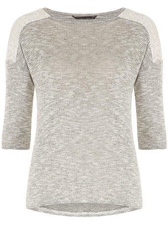 Lace shoulder jersey knit     Price: £18.00 click to visit Dorothy Perkins
