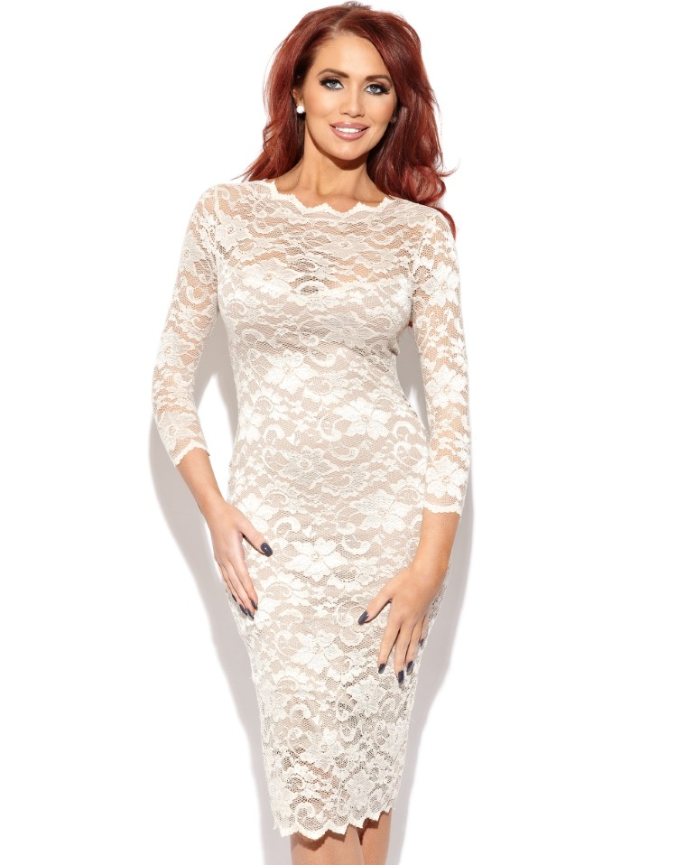 Amy Childs Georgia 1/2 Sleeve Lace Dress £65.00 click to visit Lipsy