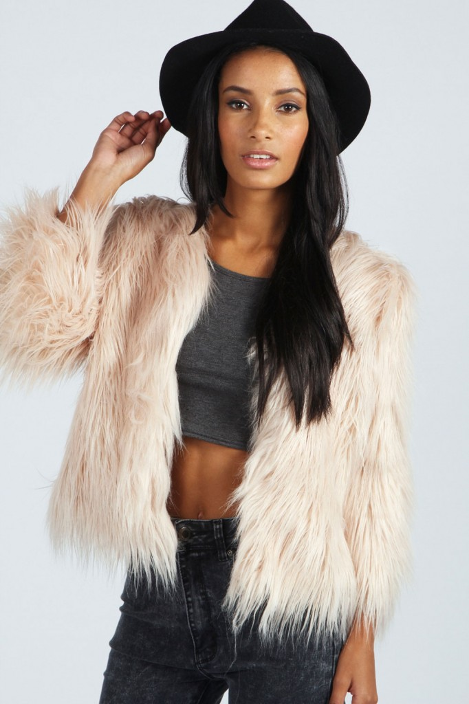 Mollie All Over Faux Fur Jacket Product code: azz38660 £50.00 click to visit Boohoo