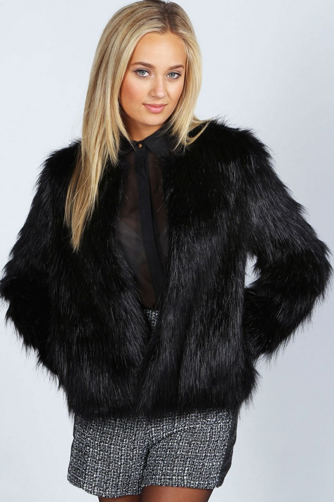 Rachel Black Edge To Edge Faux Fur Coat Product code: azz47388 £40.00 click to visit Boohoo