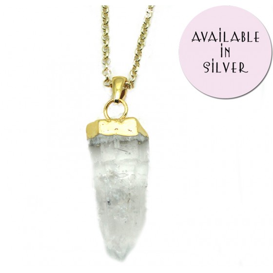 Crystal Quartz Point Pendant £25 click to visit Zara Taylor London