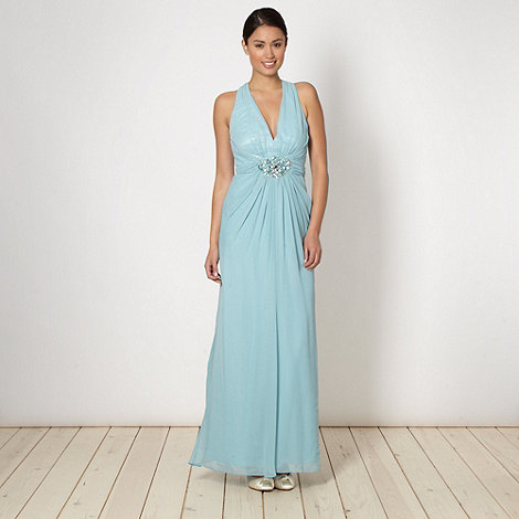 Designer aqua embellished cross over maxi dress £97.50 click to visit Debenhams