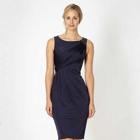 Designer dark blue embellished shoulder dress £67.75 Click to visit Debenhams
