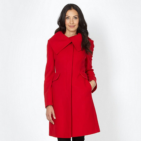 Red wool blend collar coat £65 click to visit Debenhams