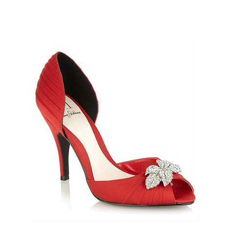 Red high heel satin court shoes with diamante leaf trim £42.75 click to visit Debenhams