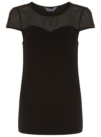Tall black chiffon yoke top     Price: £14.00 click to visit Dorothy Perkins