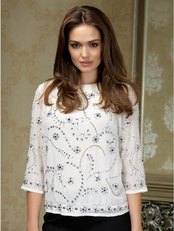Petite ivory jewell front blouse £49 click to visit M&Co