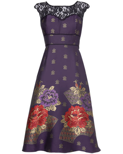Kimono Lace Jacquard Fit And Flare Dress £165 click to visit Phase Eight