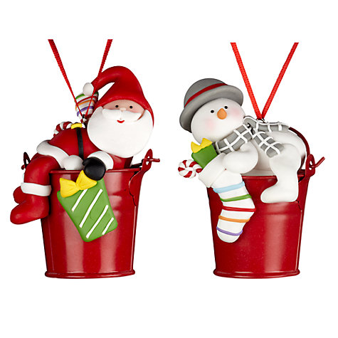 John Lewis Santa/Snowman in Bucket Decoration, Assorted  £3.50 click to visit John Lewis